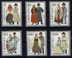Lettland Letland Latvija 1993 - Trachten - MiNr 351-356** - Kostüme