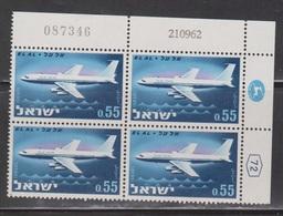 ISRAEL Scott # 228 MNH Plate Block - Boeing 707 El Al Airlines - Israel