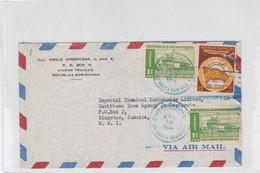 AIRMAIL REPUBLICA DOMINICANA TO JAMAICA, MIXED STAMPS OBLITERE 1952 CIUDAD DE TRUJILLO- BLEUP - Dominicaanse Republiek