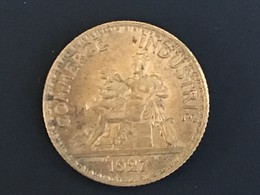 1927 One Franc Francais France Coin - Very/Ex Fine, Uncleaned, RARE Date - France