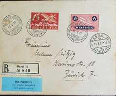 L) 1927 SWITZERLAND, HELVETIA, AIRPLANE, 15C, RED&GOLD, 45C, PINK&BLUE, AIRMAIL, XF - Switzerland