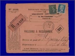 FRANCE  Yvert:130, Type VI Sur Devant De Valeur à Recouvrer, Recommandée De Paris 30/9/24      . Cote: +475 - France