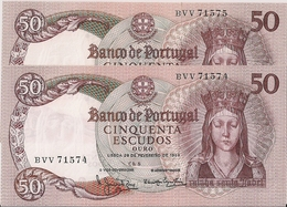 PORTUGAL=1964   2  CONSECUTIVE N:   P-168    UNC - Portugal