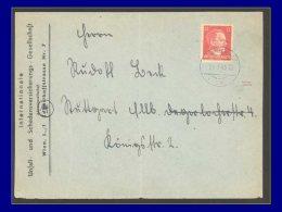 """ALL. FAUX DE PROPAGANDE  Yvert:Michel 16, Seul Sur Enveloppe """"""""24/1/45 Wien 40"""""""", Faux Américain: 12pf. Carmin Hitler    - Occupation 1938-45"""
