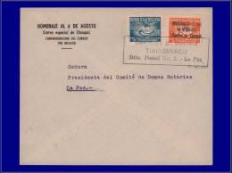 BOLIVIE 1° Vols Yvert:4/8/51, Timbre Non émis, (Yvert Bienfaisance 10 Surchargé), Sur Enveloppe: Tiahuanacu/La Paz - Bolivia