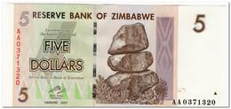 ZIMBABWE,5 DOLLARS,2007,P.66,UNC - Zimbabwe