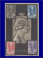 Belgique, Carte Maximum, Yvert 415/418, Reine Astrid - Maximum Cards