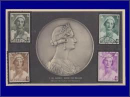 Belgique, Carte Maximum, Yvert 411/414, Reine Astrid - Maximum Cards