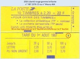 FRANCE - Carnet Conf. 9, RE - 2f20 Liberté Rouge - YT 2376 C5 / Maury 464 - Definitives