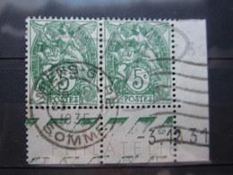 """VEND BEAUX TIMBRES DE FRANCE N° 111 EN PAIRE + 2 BDF + CD , CACHET """" AMIENS - GARE """" !!! - 1900-29 Blanc"""