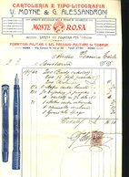 18 ROMA 1915 -  PENNE MONTE ROSA , CARTOLERIA V. MOYNE &G. ALESSANDRONI , VIA CAVOUR - Italie