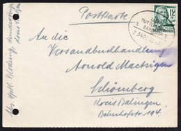 Deutscland POSTKARD BAHNPOST 1948., ULM - TUTTLINGEN - Trains