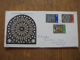 S035: FDC: CHRISTMAS 1971. (With Compliments For The Crippled Child). 2.5p, 3p, 7.5p. 13 OCT 1971 - FDC