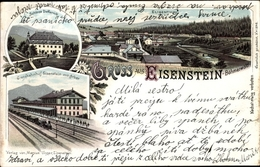 Lithographie Železná Ruda Markt Eisenstein Reg. Pilsen, Schloss Deffernik, Grenzbahnhof - Czech Republic