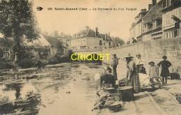 18 St Amand Montrond, La Marmande Au Pont Pasquet, Beau Plan De Laveuses, Brouettes Et Baquets De Linge...., 1907 - Saint-Amand-Montrond