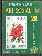 Indonesia 1966 Day Of Social Care: Flowers (II), Hibiscus Rosa-sinensis, Shoeblackplant  Mi Bloc 5 Unused Brown In Gum - Indonesia