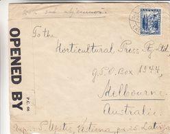 Lettonie - Lettre De 1940 ° - Oblit Riga - Exp Vers Melbourne - Avec Censure - Avec Vignette Au Verso - Letonia