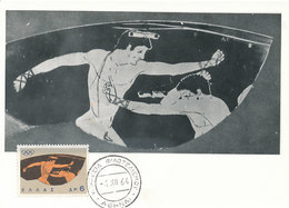 D35442 CARTE MAXIMUM CARD 1964 GREECE - WRESTLERS OLYMPICS CP ORIGINAL - Wrestling