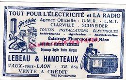 02- VAUX SOUS LAON- BUVARD LEBEAU & HANOTEAUX- ELECTRICTE RADIO- TSF-CLARVILLE-SCHNEIDER-NEON-ASPIRATEUR- - Blotters