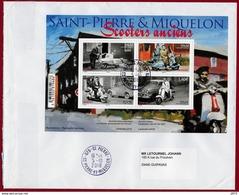 """ST.PIERRE & MIQUELON 2018   BLOC """"Les Scooters"""" Sur Enveloppe  Oblitéré Cachet Rond 10/2018 St.Pierre - St.Pierre & Miquelon"""