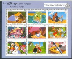 Mu142b WALT DISNEY ALICE IN WONDERLAND VOGEL KAT KONIJN VLINDER RABBIT CAT FLAMINGO BIRD BUTTERFLY GRENADA 1987 PF/MNH - Disney