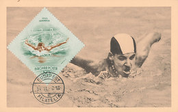 D35461 CARTE MAXIMUM CARD 1954 HUNGARY - SWIMMING BUTTERFLY CP ORIGINAL - Swimming