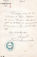 """Document- """" Cachet De Mairie """"- LORIGES ( Avec S, Ou ,pas-)- - Documents Historiques"""