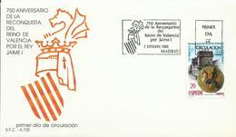 ESPAÑA , SOBRE PRIMER DIA  RECONQUISTA REINO DE VALENCIA - 1931-Hoy: 2ª República - ... Juan Carlos I