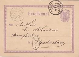 PAYS-BAS 1877 ENTIER POSTAL CARTE DE UTRECHT - Material Postal