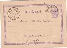 PAYS-BAS 1877  ENTIER POSTAL CARTE DE TILLBURG - Postal Stationery