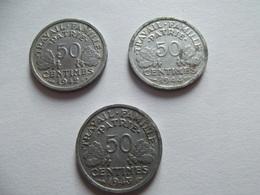 Lot De Trois Pièces De 50 Centimes Bazor 1942, 1943, 1944 - France