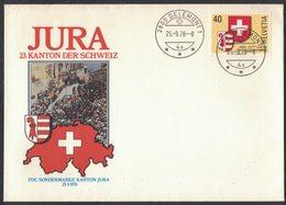 AN41    SVIZZERA FDC - 1978 - JURA - 23° Cantone Della Svizzera - Annullo DELEMONT 1 - Mi.1141 - FDC