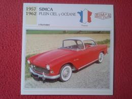 FICHA TÉCNICA DATA TECNICAL SHEET FICHE TECHNIQUE AUTO COCHE CAR VOITURE 1957 1962 SIMCA PLEIN CIEL Y OCÉANE FRANCE CARS - Coches