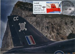 GIBRALTAR (2018). Carte Maximum Card - ATM - 100 Years Royal Air Force RAF - Post & Go - First Day (Hawk On The Rock) - Gibraltar