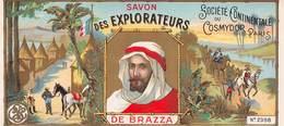 """0232 """"SAVON DES EXPLORATEURS DE BRAZZA - SOCIÈTÈ CONTINENTAL DU COSMYDOR - PARIS"""" ETICHETTA ORIG. - Labels"""