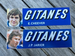 """Lot De 2 """" Autocollant """" Gitanes ( Cigarette ) Avec Champion De Formule  1 J P JARIER Et E CHEEVER - Car Racing - F1"""