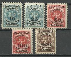 MEMELGEBIET 1923 Lithuania Litauen Memel Klaipeda Michel 124 - 128 * - Lithuania