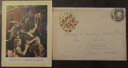 Enveloppe Irlande (Eire) Vers France Avec Carte De Noël - Vignette Mery Christmas Et Timbre YT N°43 - Cachet 1953 - Altri