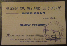 France - Carte De Membre Honoraire De L'Association Des Amis De L'Orgue - Perpignan - 1966 - Cartes De Visite