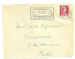 RHIN / Bas - Dépt N° 67 = STRASBOURG GARE 1957 =  FLAMME SUPERBE = SECAP Illustrée ' PORT RHENAN Au Service économie' - Postmark Collection (Covers)