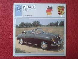 FICHA TÉCNICA DATA TECNICAL SHEET FICHE TECHNIQUE AUTO COCHE CAR VOITURE 1948 1965 PORSCHE 356 GERMANY ALEMANIA CARS VER - Coches