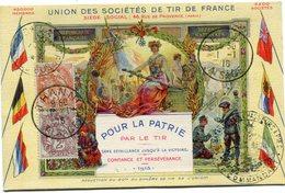 """FRANCE CARTE POSTALE """" UNION DES SOCIETES DE TIR DE FRANCE """" AVEC OBLITERATIONS THANN 1-1-16 AISNE ET TRESOR ET POSTES. - 1900-29 Blanc"""
