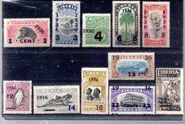 LIBERIA 222/232** SUR UNE SERIE COURANTE SURCHARGEE 1936 - Liberia