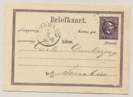 Nederlands Indië - 1878 - 5 Cent Willem III, Briefkaart G1 Met Rond- En Puntstempel SAMARANG Naar Soerabaja - Nederlands-Indië