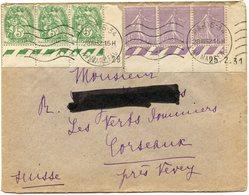 FRANCE LETTRE AVEC AFFRANCHISSEMENT TYPES BLANC ET SEMEUSE LIGNEE DEPART PARIS 28 III 32 POUR LA SUISSE - 1900-29 Blanc