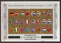 HONDURAS 1974 - Centenary UPU / World Postal UNION / 23 Flags - BLOC =12v MNH ** Perfect Q582 - Honduras