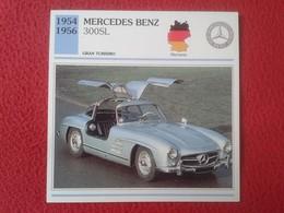 FICHA TÉCNICA DATA TECNICAL SHEET FICHE TECHNIQUE AUTO COCHE CAR VOITURE 1954 1956 MERCEDES BENZ 300SL 300 SL GERMANY - Coches