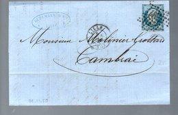 1859 Chimiques Du Horde Kuhlmann à  Lille Petit Chiffres 1727 > 'Calais A Paris' > Molinier Grottard à Cambrai (EO7-441) - 1853-1860 Napoleone III
