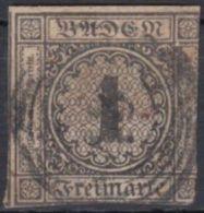 1, Zentr. Nr.-Stempel, 2seitig Berührt - Baden