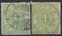 36 A, B, Beide Farben, Sauber Gestempelt - Wuerttemberg